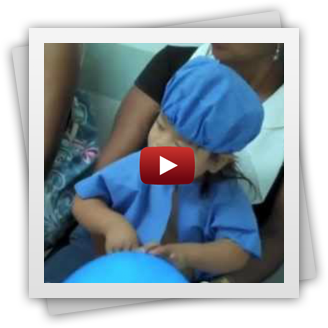 video of a child getting prepped for surgery